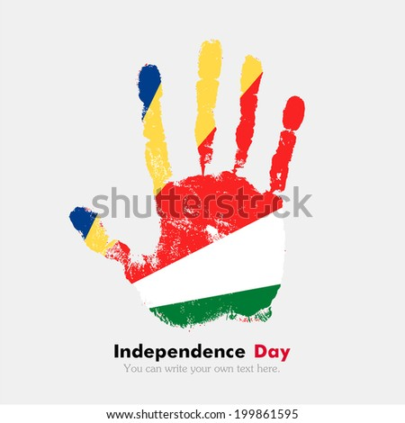 Hand print, which bears the flag. Independence Day. Grungy style. Grungy hand print with the flag. Hand print and five fingers. Used as an icon, card, greeting, printed materials. Flag of Seychelles
