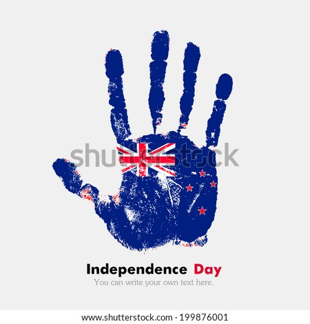 Hand print, which bears the flag. Independence Day. Grungy style. Grungy hand print with the flag. Hand print and five fingers. Used as an icon, card, greeting, printed materials.