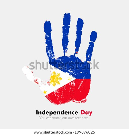 Hand print, which bears the flag. Independence Day. Grungy style. Grungy hand print with the flag. Hand print and five fingers. Used as an icon, card, greeting, printed. The flag of the Philippines