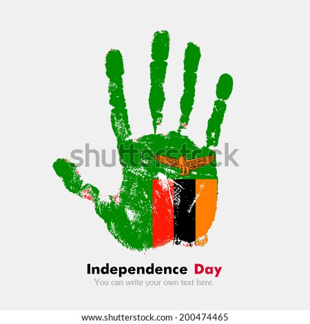 Hand print, which bears the flag. Independence Day. Grungy style. Grungy hand print with the flag. Hand print and five fingers. Used as an icon, card, greeting, printed materials. Flag of Zambia