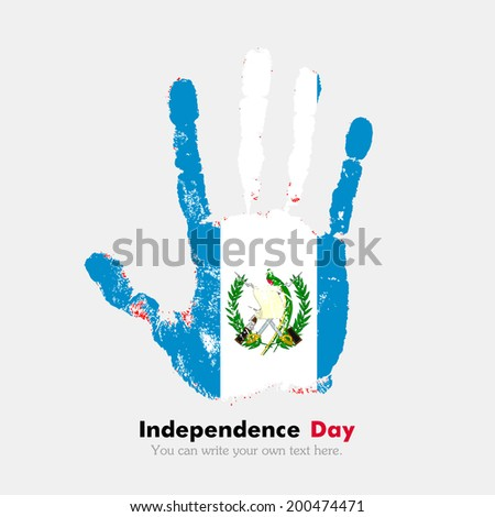 Hand print, which bears the flag. Independence Day. Grungy style. Grungy hand print with the flag. Hand print and five fingers. Used as an icon, card, greeting, printed materials. Flag of Guatemala