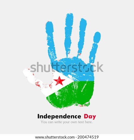 Hand print, which bears the flag. Independence Day. Grungy style. Grungy hand print with the flag. Hand print and five fingers. Used as an icon, card, greeting, printed materials. Flag of Djibouti