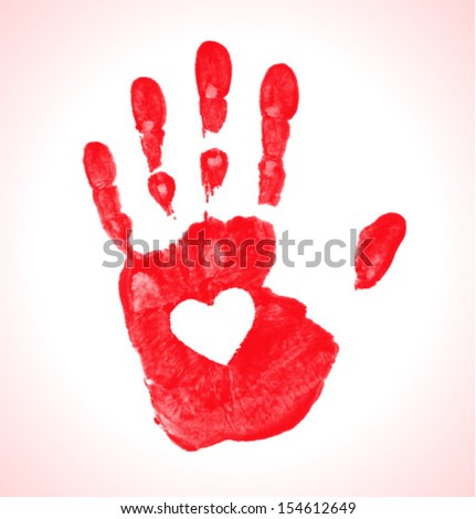 Hand print with heart icon, vector illustration   - stock vector