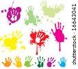 Hand print with splatters - stock vector