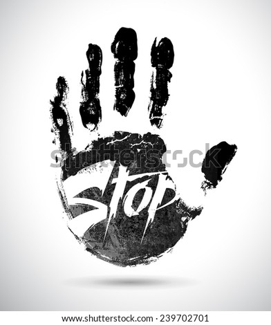 Hand print with stop symbol  - stock vector
