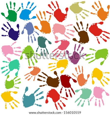 Hand prints. Colorful hand prints in front of an white background