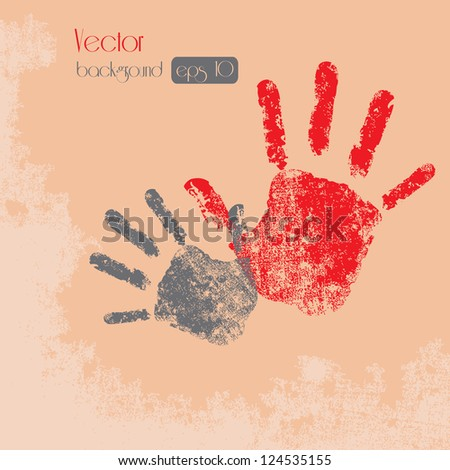 Hand Prints - Isolated On Background - Vector illustration, Graphic Design - stock vector