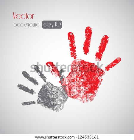 Hand prints on background - Vector illustration Eps10, Graphic Design - stock vector