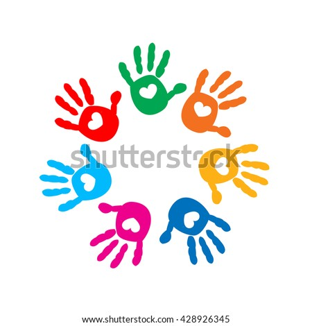 Hand prints with hearts. Full of Love icon vector illustration - stock vector