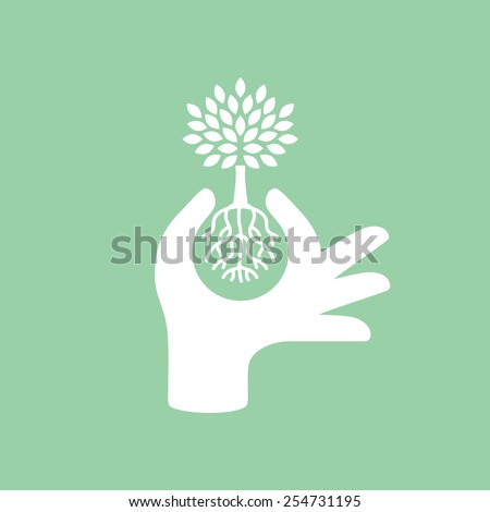 Hand protecting plant - nature conservation graphic. This illustration represents human concern for deforestation, ecological protection, protecting plants and trees. - stock vector