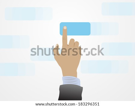 Hand pushing a button  - stock vector