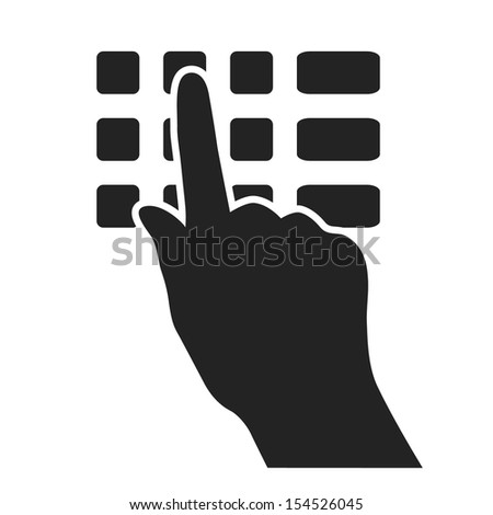 hand pushing button of bank machine keyboard black web icon. vector illustration - stock vector