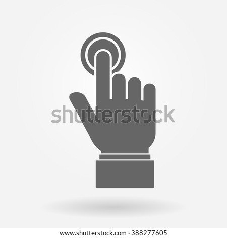 Hand pushing or pressing the button hand sign icon - stock vector