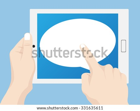 Hand pushing tablet computer with Speech Bubbles Design, Vector Illustration EPS 10. - stock vector