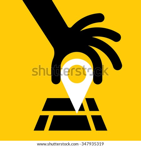 hand put a flag on the map - stock vector