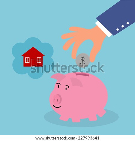 hand put money to saving pig for house,illustration,vector  - stock vector