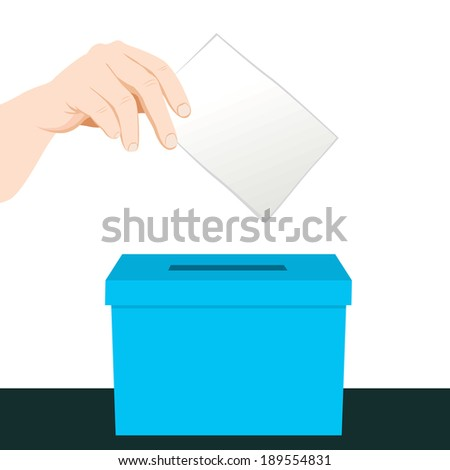 Hand putting a paper ballot voting on a blue ballot box - stock vector