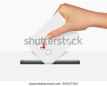 Hand putting a voting ballot in a slot of box. - stock vector