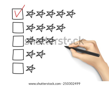 hand putting check mark with pen on five star rating - stock vector