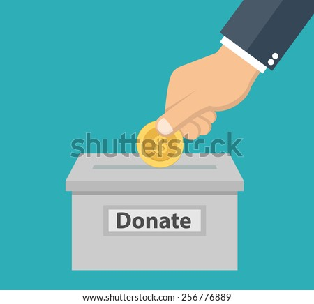 Hand putting coin in the donation box - donation concept in flat style - stock vector