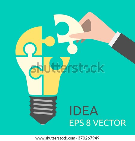 Hand putting missing piece into light bulb shaped puzzle. Idea, business, solution, creativity, genius concept. Flat style. EPS 8 vector illustration, no transparency - stock vector