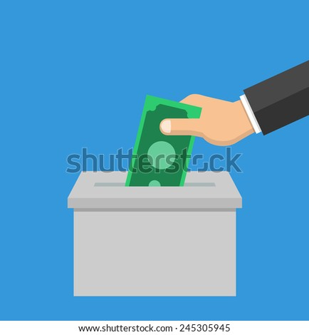 Hand putting money in a box - flat style - stock vector