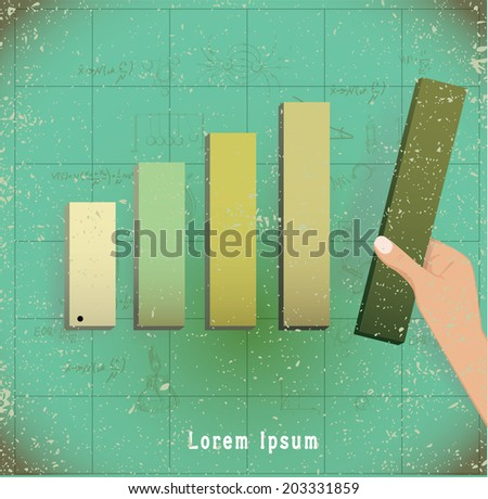 hand putting the last piece of a bar chart on place (partnership, teamwork, investment and other financial concepts) vector illustration - stock vector