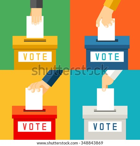 Hand putting voting paper in ballot box. Referendum polling and choice voter, vector illustration - stock vector