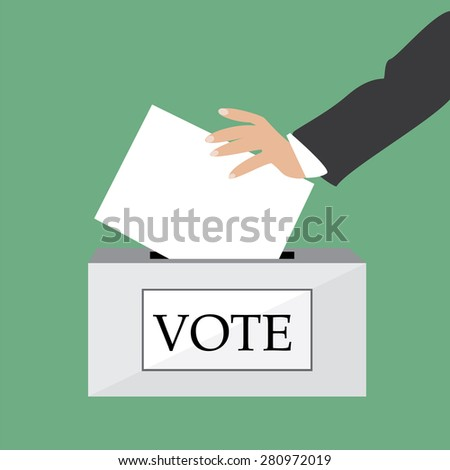 Hand putting voting paper in ballot box vector illustration green background. Voting box. Voting concept - stock vector
