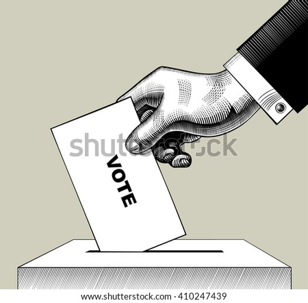 Hand putting voting paper in the ballot box. Vintage engraving stylized drawing. Vector illustration  - stock vector