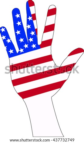 Hand raising sign for vote campaign with American flag pattern texture isolated on white background: USA civil rights for voting/ US Election day/ constitution and citizenships day concept - stock vector
