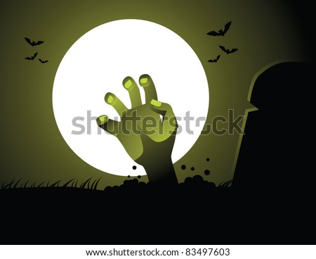 Hand reaching from the grave A hand reaches from the grave under the moonlight. Vector illustration. Grouped for easy editing. - stock vector
