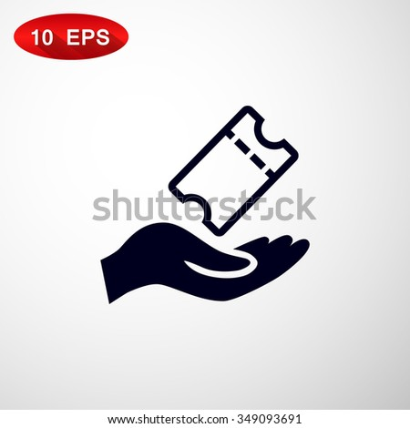 Hand receiving a ticket symbol for download - stock vector