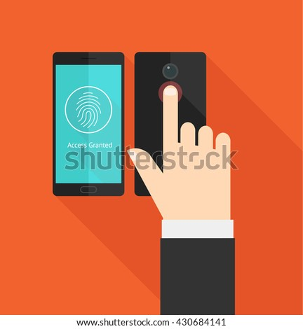 Hand resting on smart phone fingerprint scanner. Security access. - stock vector