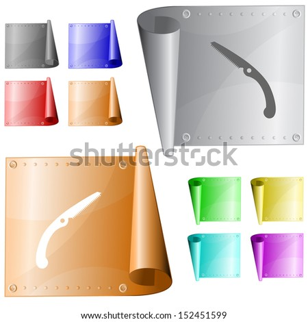 Hand saw. Vector metal surface. - stock vector