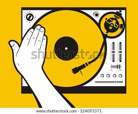 Hand scratching vinyl - stock vector