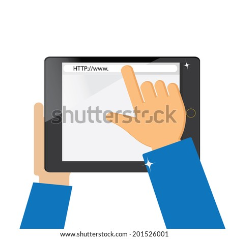 hand searching the internet on a tablet computer - stock vector