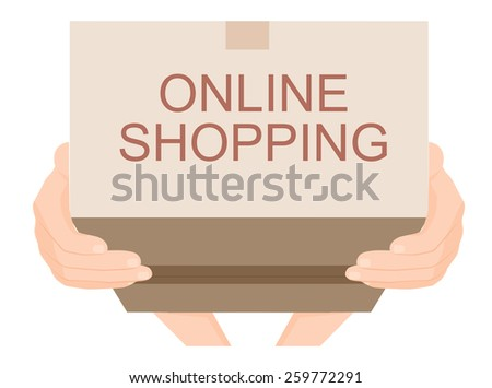 Hand sent a brown cardboard box online shopping, e-commerce concept vector - stock vector