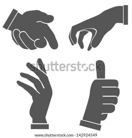 hand set, hand sign - stock vector