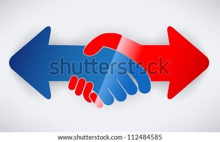 Hand shake arrows - stock vector