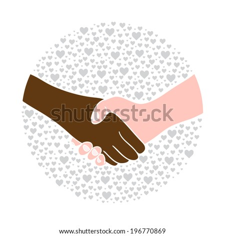 Hand shake between black and white man on background with hearts. Stop racism.  - stock vector