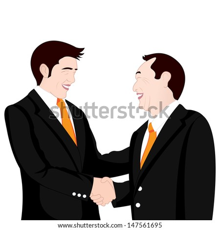 hand shake business on white background - stock vector