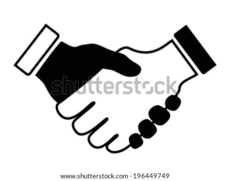 hand shake icon black and white - stock vector