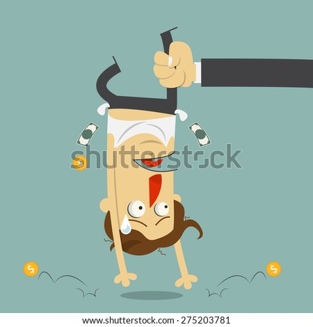 Hand shaking money from broke man crying. Cartoon character. Vector Illustration. - stock vector