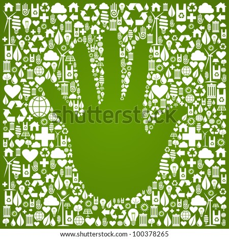 Hand shape in green Earth icons set background. Vector file available. - stock vector
