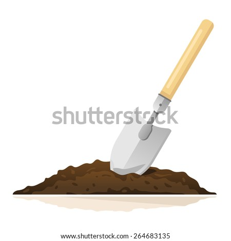 Hand shovel in ground, gardening tools equipment, spring work, isolated