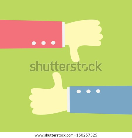 hand show good and bad - stock vector