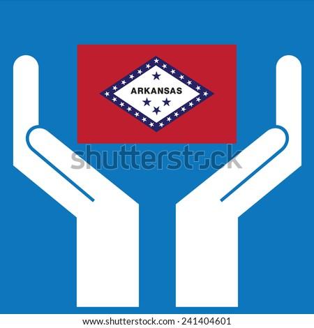 Hand showing Arkansas Flag. Vector illustration.   - stock vector
