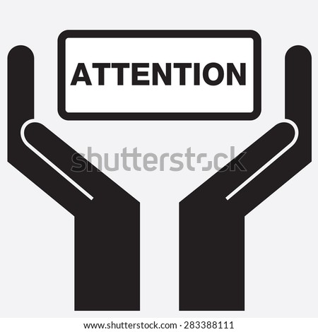 Hand showing attention sign icon. Vector illustration.