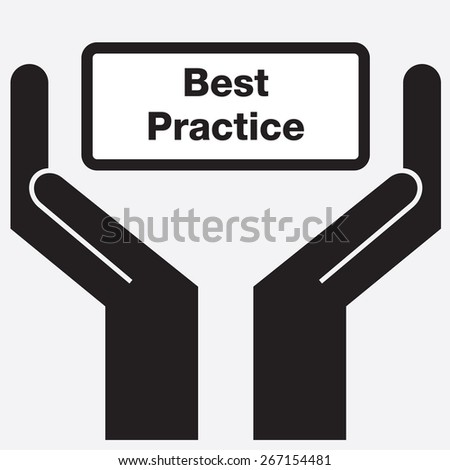 Hand showing best practice sign icon. Vector illustration. - stock vector